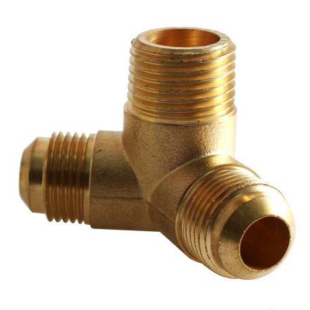 Interstate Pneumatics CPF98 Three-Way Brass Manifold Compressor Fitting 3/4 Inch MPT (1) x 1/2 Inch FPT (2)