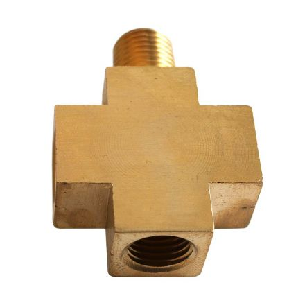 Interstate Pneumatics CPX44-2 Four-Way Brass Compressor Fitting - 1/4 Inch MPT (1) x 1/4 Inch FPT (2) x 1/8 Inch FPT (1)