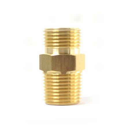 Interstate Pneumatics FA614B 3/8 Inch NPSM Male x 1/4 Inch NPTF Male - Ball Seat Brass Adapter