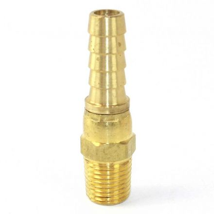Interstate Pneumatics FMS146 Brass Hose Fitting, Connector, 3/8 Inch Swivel Barb x 1/4 Inch Male NPT End
