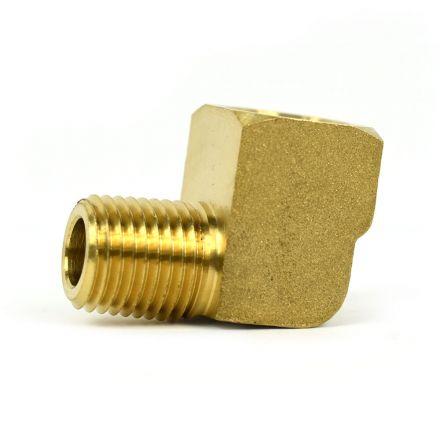 Interstate Pneumatics FST44E Brass Street Pipe Elbow Fitting 1/4 Inch NPT - 90 Degree