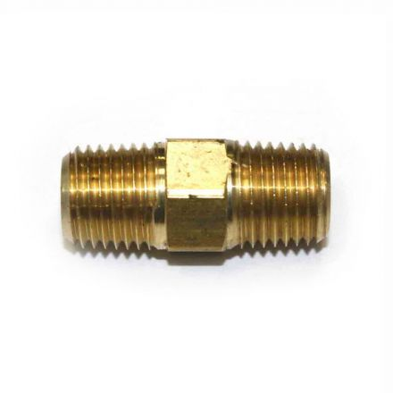 Interstate Pneumatics FA414 1/4 Inch NPT Male Brass Hex Nipple