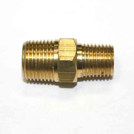 Interstate Pneumatics FA416 1/4 Inch x 3/8 Inch NPT Male Brass Hex Nipple Reducer