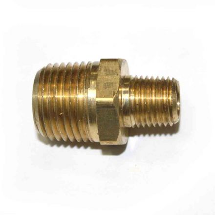 Interstate Pneumatics FA418 1/4 Inch x 1/2 Inch NPT Male Brass Hex Nipple