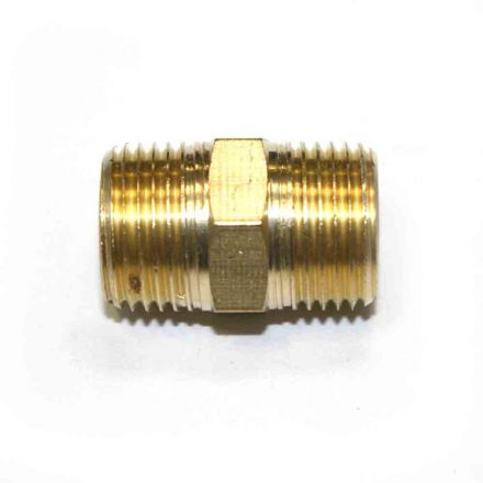 Interstate Pneumatics FA616 3/8 Inch NPT Male Brass Hex Nipple