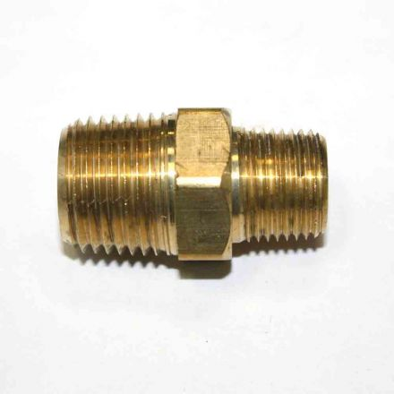 Interstate Pneumatics FA618 3/8 Inch x 1/2 Inch NPT Male Brass Hex Nipple Reducer