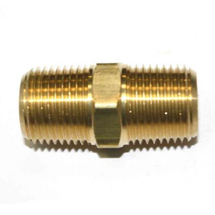 Interstate Pneumatics FA818 1/2 Inch NPT Male Brass Hex Nipple
