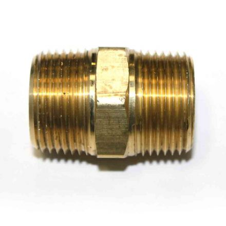 Interstate Pneumatics FA919 3/4 Inch NPT Male Brass Hex Nipple