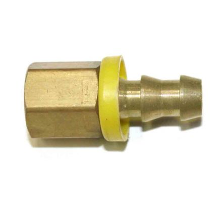 Interstate Pneumatics FL046 Easy Lock Brass Hose Fittings, Connectors, 3/8 Inch Push-Lock Barb x 1/4 Inch Female NPT End