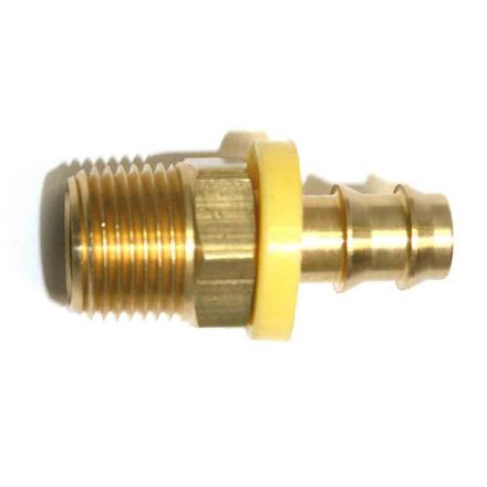 Interstate Pneumatics FL166 Easy Lock Brass Hose Fittings, Connectors, 3/8 Inch Push-Lock Barb x 3/8 Inch Male NPT End