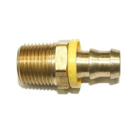 Interstate Pneumatics FL188 Easy Lock Brass Hose Fittings, Connectors, 1/2 Inch Push-Lock Barb x 1/2 Inch Male NPT End