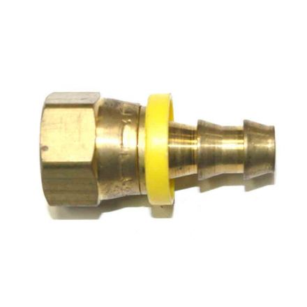 Interstate Pneumatics FL266 Easy Lock Brass Hose Fittings, Connectors, 3/8 Inch Push-Lock Barb x 3/8 Inch Swivel Female NPT End