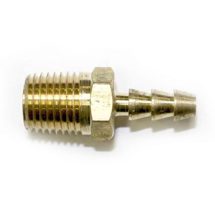 Interstate Pneumatics FM43 Brass Hose Barb Fitting, Connector, 3/16 Inch Barb X 1/4 Inch NPT Male End