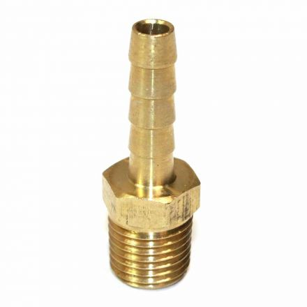Interstate Pneumatics FM44 Brass Hose Barb Fitting, Connector, 1/4 Inch Barb X 1/4 Inch NPT Male End