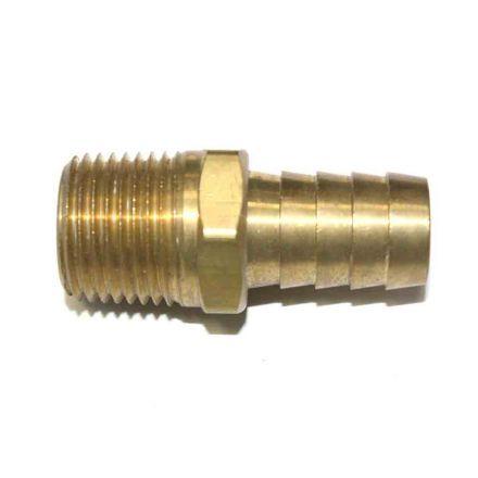 "Interstate Pneumatics FM88-5 Brass Hose Barb Fitting, Connector, 5/8"" Barb X 1/2"" NPT Male End"