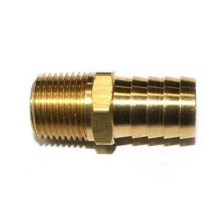 Interstate Pneumatics FM89 Brass Hose Barb Fitting, Connector, 3/4 Inch Barb X 1/2 Inch NPT Male End