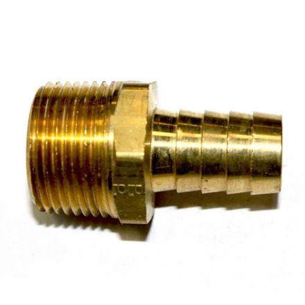 Interstate Pneumatics FM98-5 Brass Hose Barb Fitting, Connector, 5/8 Inch Barb X 3/4 Inch NPT Male End