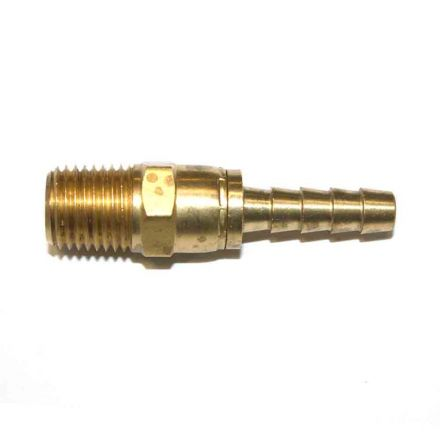 Interstate Pneumatics FMS144 Brass Hose Fitting, Connector, 1/4 Inch Swivel Barb x 1/4 Inch Male NPT End