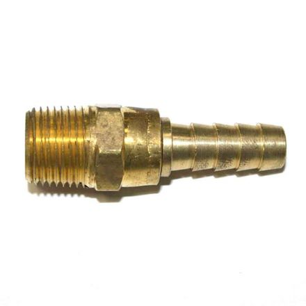 Interstate Pneumatics FMS166 Brass Hose Fitting, Connector, 3/8 Inch Swivel Barb x 3/8 Inch Male NPT End