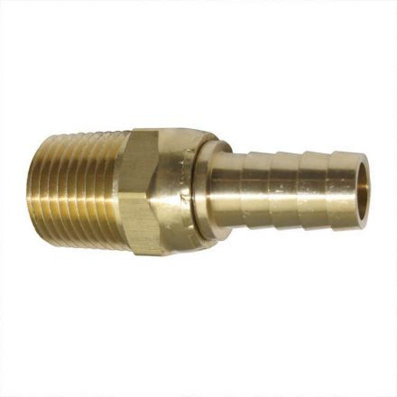 Interstate Pneumatics FMS188 Brass Hose Fitting, Connector, 1/2 Inch Swivel Barb x 1/2 Inch Male NPT End