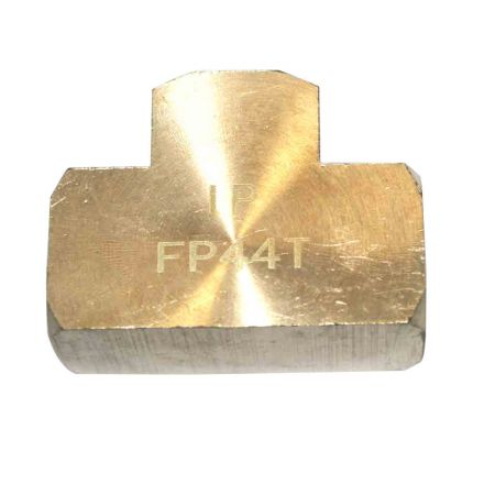 Interstate Pneumatics FP44T Brass Tee Fitting 1/4 Inch NPT Female