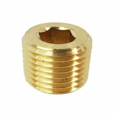 Interstate Pneumatics FPP82B Brass Hex Headless Plug 1/2 Inch NPT Male