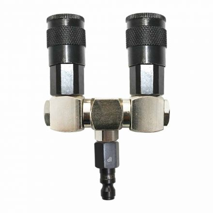 "Interstate Pneumatics FS244-KA4 Double Swivel Manifold with Two 1/4"" Steel Automotive Couplers & One 1/4"" Steel Plug Kit"