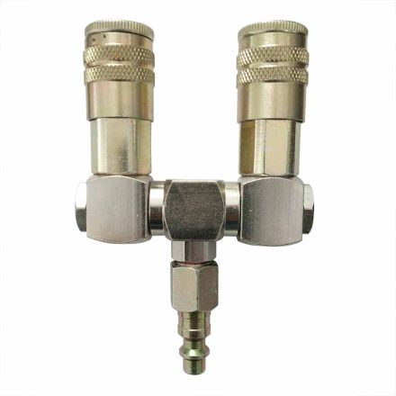 "Interstate Pneumatics FS244-KH4 Double Swivel Manifold with Two 1/4"" Steel Industrial Couplers & One 1/4"" Steel Plug Kit"