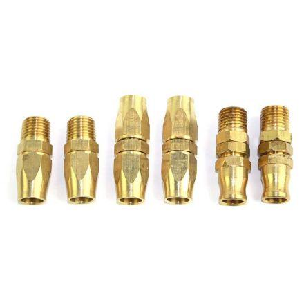 """Interstate Pneumatics HRPZ24-K1 1/4"""" NPT HU Hose Reusable End Brass Fitting Kit"""