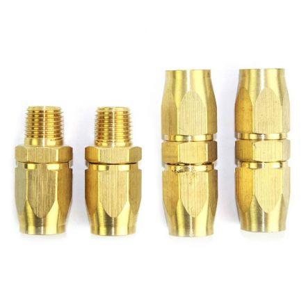 Interstate Pneumatics HRPZ26-K1 3/8 Inch NPT HU Hose Reusable End Brass Fitting Kit