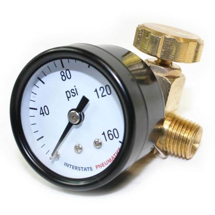 "Interstate Pneumatics VR161 In Line Needle Valve 1/4"" FPT x 1/4"" MPT - w/Gauge 1.5"" 0-160 PSI"