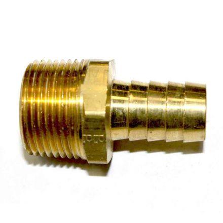 "Interstate Pneumatics FM98 Brass Hose Barb Fitting, Connector, 1/2"" Barb X 3/4"" NPT Male End"