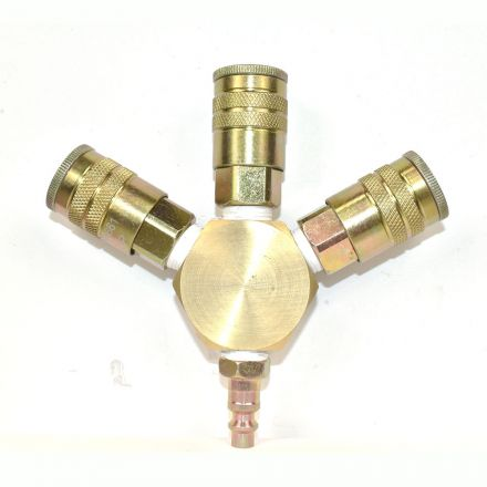 Interstate Pneumatics FPM66R-3-KH6 3/8 Inch Brass Flat Hex Manifold with 3 x 1/4 Inch Steel Industrial Couplers
