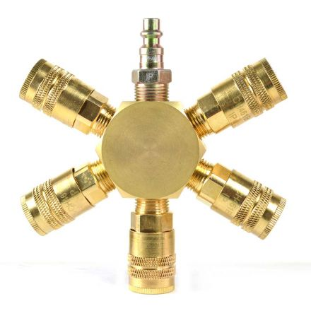 Interstate Pneumatics FPM66R-KH4B 3/8 Inch Brass Flat Hex Manifold with 5 x 1/4 Inch Brass Industrial Couplers