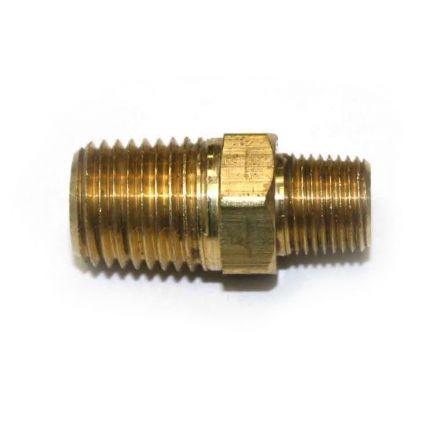 Interstate Pneumatics FA214 1/8 Inch x 1/4 Inch NPT Male Brass Hex Nipple Reducer