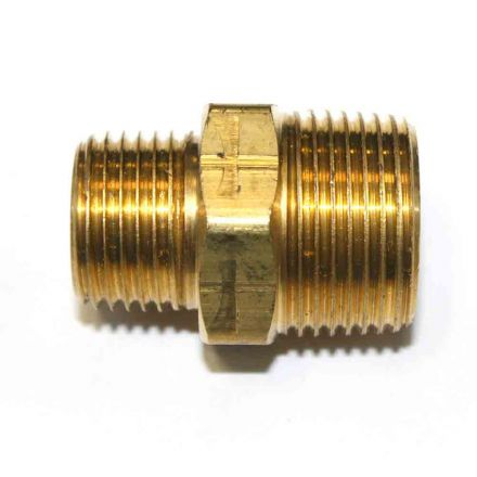 Interstate Pneumatics FA819 1/2 Inch x 3/4 Inch NPT Male Brass Hex Nipple Reducer