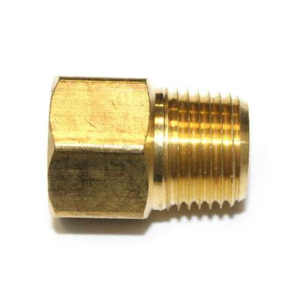 Interstate Pneumatics FB808 1/2 Inch NPT Male x 1/2 Inch NPT Female Brass Hex Adapter