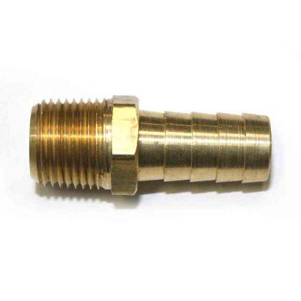 "Interstate Pneumatics FM68 Brass Hose Barb Fitting, Connector, 1/2"" Barb X 3/8"" NPT Male End"