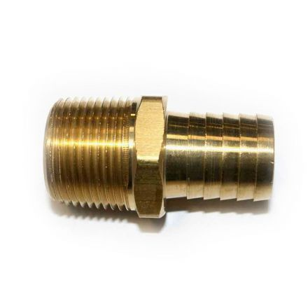 Interstate Pneumatics FM99-9 Brass Hose Barb Fitting, Connector, 1 Inch Barb X 1 Inch NPT Male End