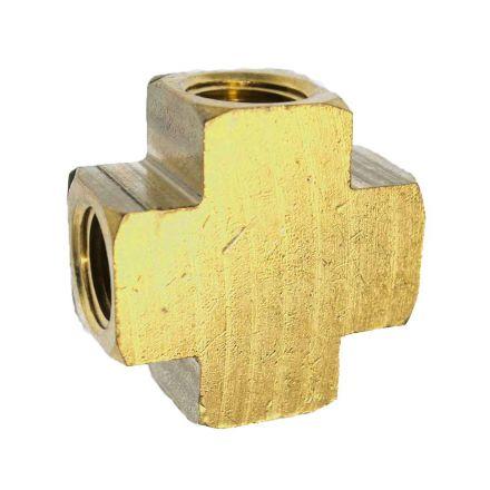 Interstate Pneumatics FP22X Brass Cross Fitting - 1/8 Inch NPT (x4)