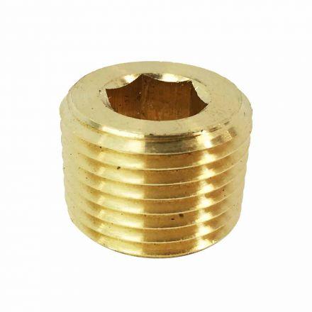 Interstate Pneumatics FPP82B Brass Hex Headless Plug 1/2 Inch NPT Male