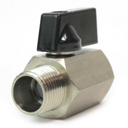 """Interstate Pneumatics VB880 Brass Ball Valve Pipe Thread with Lever 1/2"""" FPT x 1/2"""" MPT"""