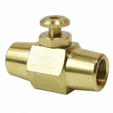 Interstate Pneumatics VBT44 Brass Button Valve 1/4 Inch x 1/4 Inch Female NPT